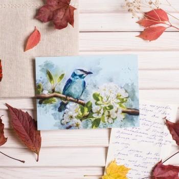"""Открытка """"Птица в цветах"""""""