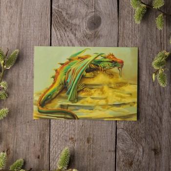 """Открытка """"Зеленый дракон"""""""