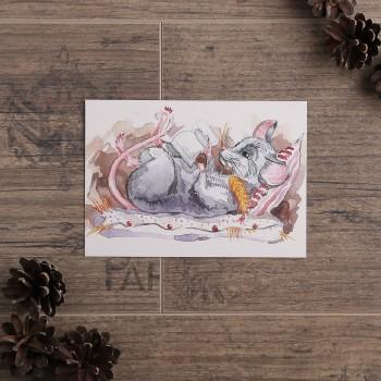 """Открытка """"Мышь с книгой"""""""