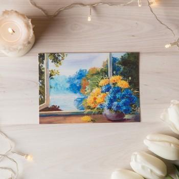 """Открытка """"Цветы на окне"""""""