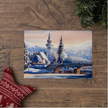 "Открытка ""Зимний мост через реку"""
