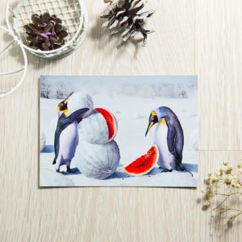 """Открытка """"Пингвины с арбузами"""""""