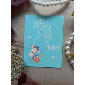 "Мини-открытка ""Hello. Мышонок"""