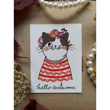 """Мини-открытка """"hello autumn. Котик"""""""