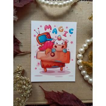 """Мини-открытка """"Единорог. MAGIC"""""""
