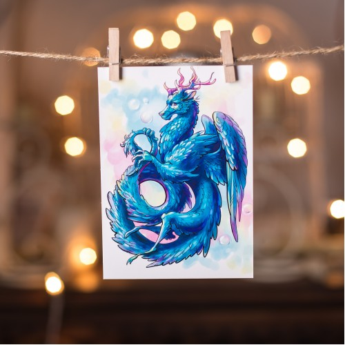 "Открытка ""Синий дракон"""