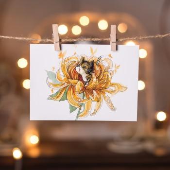 """Открытка """"Котенок в цветке. Хризантема."""