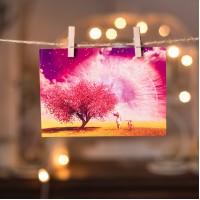 """Открытка """" Цветущее дерево"""""""