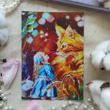 """Открытка """"Алиса и рыжый кот"""""""
