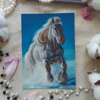 """Открытка """"Белая лошадь"""""""