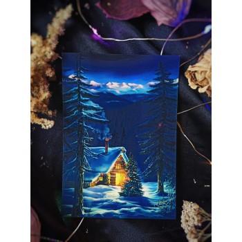 """Открытка """"Зима. Дом в лесу"""""""