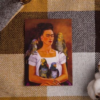 """Открытка """"Автопортрет с попугаями"""" Фрида Кало"""